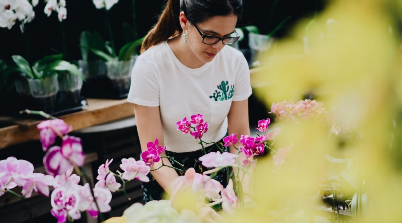 Girl tending some flowers